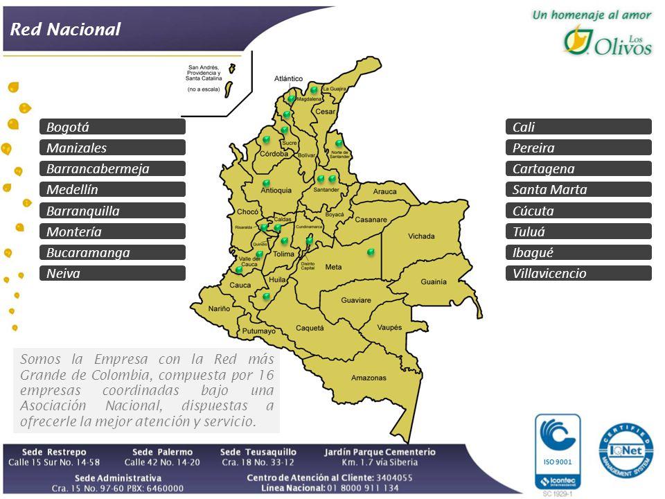 Red Nacional Bogotá Manizales Medellín Barranquilla Montería Bucaramanga Neiva Cali Pereira Cartagena Santa Marta Cúcuta Villavicencio Somos la Empresa con la Red más Grande de Colombia, compuesta por 16 empresas coordinadas bajo una Asociación Nacional, dispuestas a ofrecerle la mejor atención y servicio.