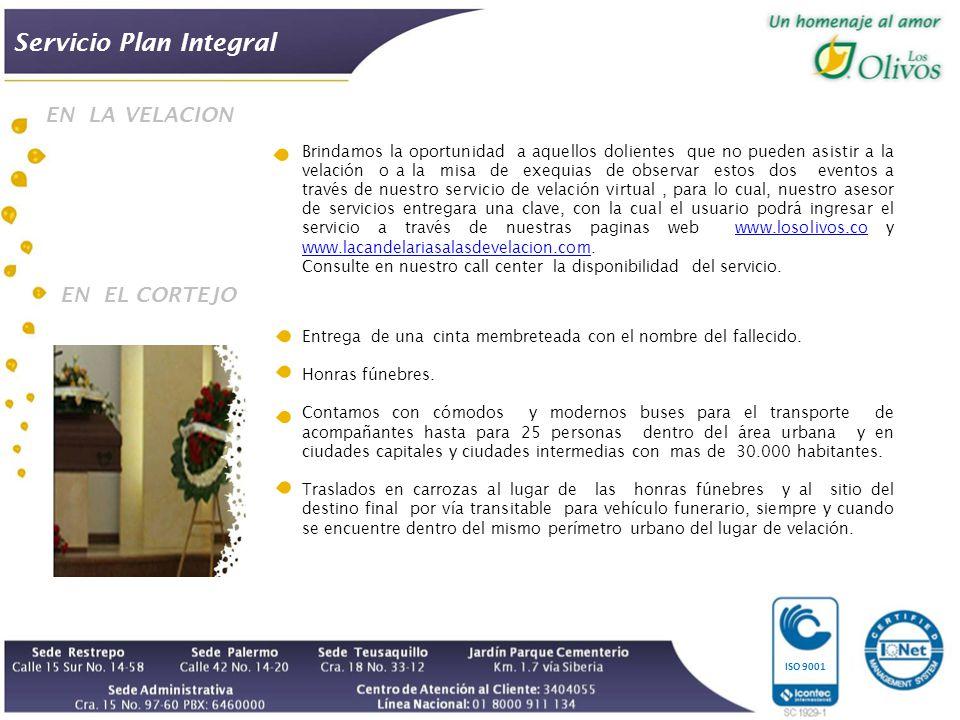 ISO 9001 Entrega de una cinta membreteada con el nombre del fallecido.