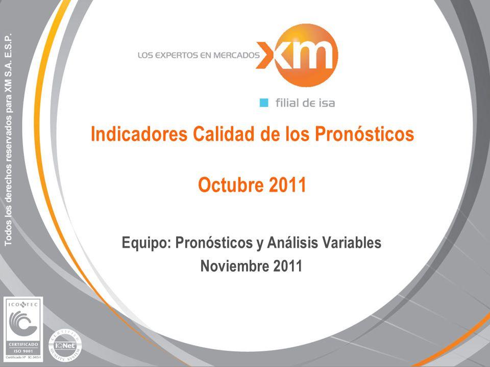 Indicadores Calidad de los Pronósticos Octubre 2011 Equipo: Pronósticos y Análisis Variables Noviembre 2011