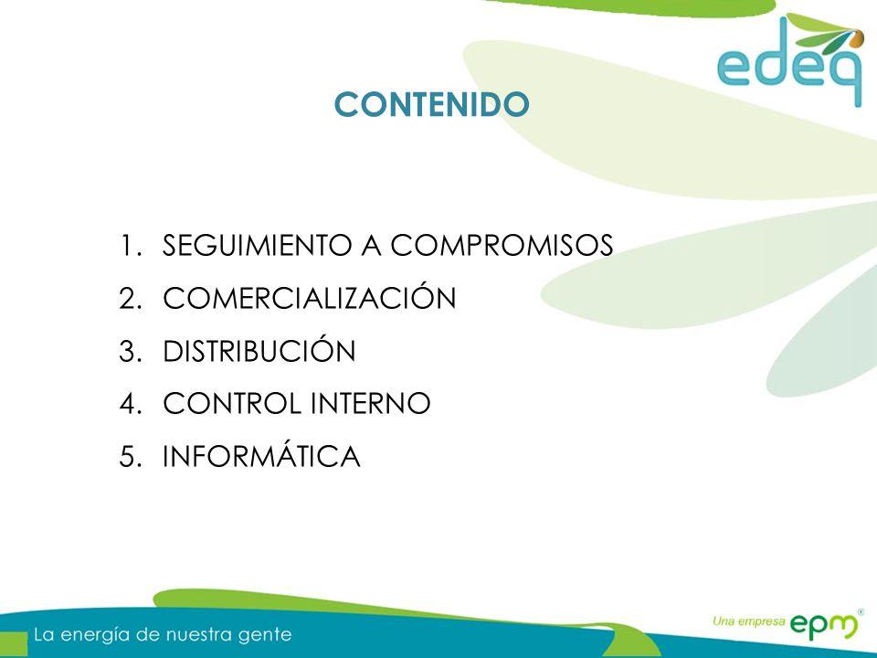 CONTENIDO 1.SEGUIMIENTO A COMPROMISOS 2.COMERCIALIZACIÓN 3.DISTRIBUCIÓN 4.CONTROL INTERNO 5.INFORMÁTICA