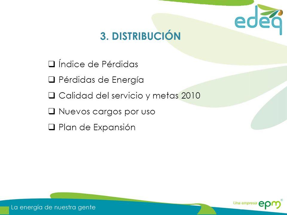 Índice de Pérdidas Pérdidas de Energía Calidad del servicio y metas 2010 Nuevos cargos por uso Plan de Expansión 3. DISTRIBUCIÓN