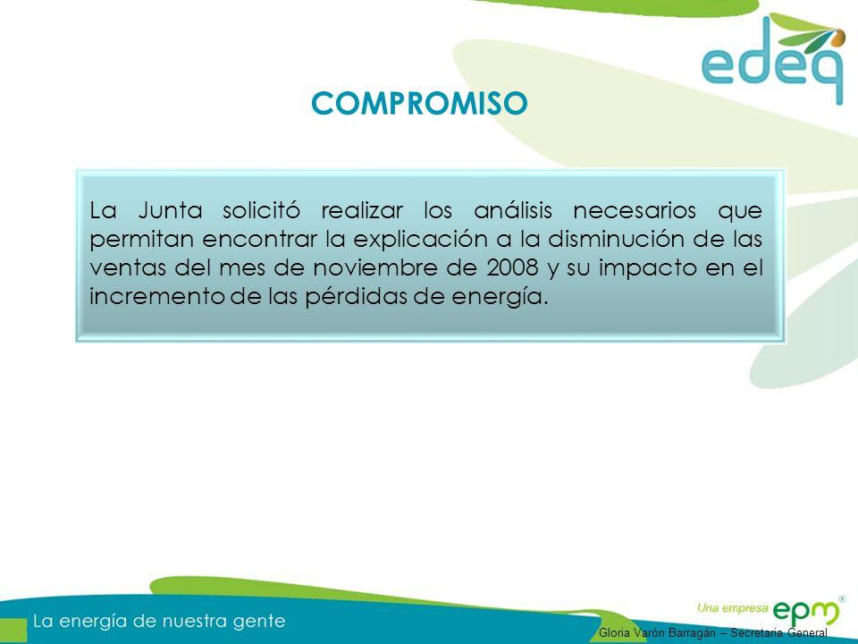 La Junta solicitó realizar los análisis necesarios que permitan encontrar la explicación a la disminución de las ventas del mes de noviembre de 2008 y su impacto en el incremento de las pérdidas de energía.