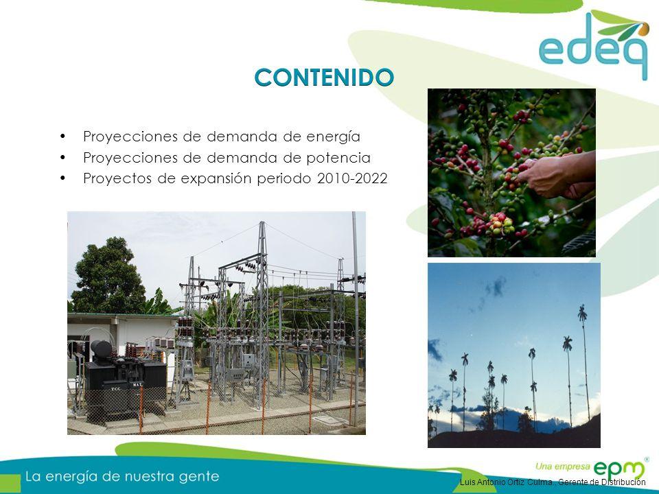 Proyecciones de demanda de energía Proyecciones de demanda de potencia Proyectos de expansión periodo 2010-2022 Luis Antonio Ortiz Culma., Gerente de Distribución