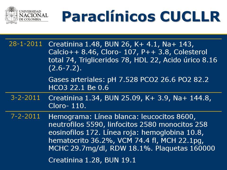 Paraclínicos CUCLLR 28-1-2011 Creatinina 1.48, BUN 26, K+ 4.1, Na+ 143, Calcio++ 8.46, Cloro- 107, P++ 3.8, Colesterol total 74, Trigliceridos 78, HDL