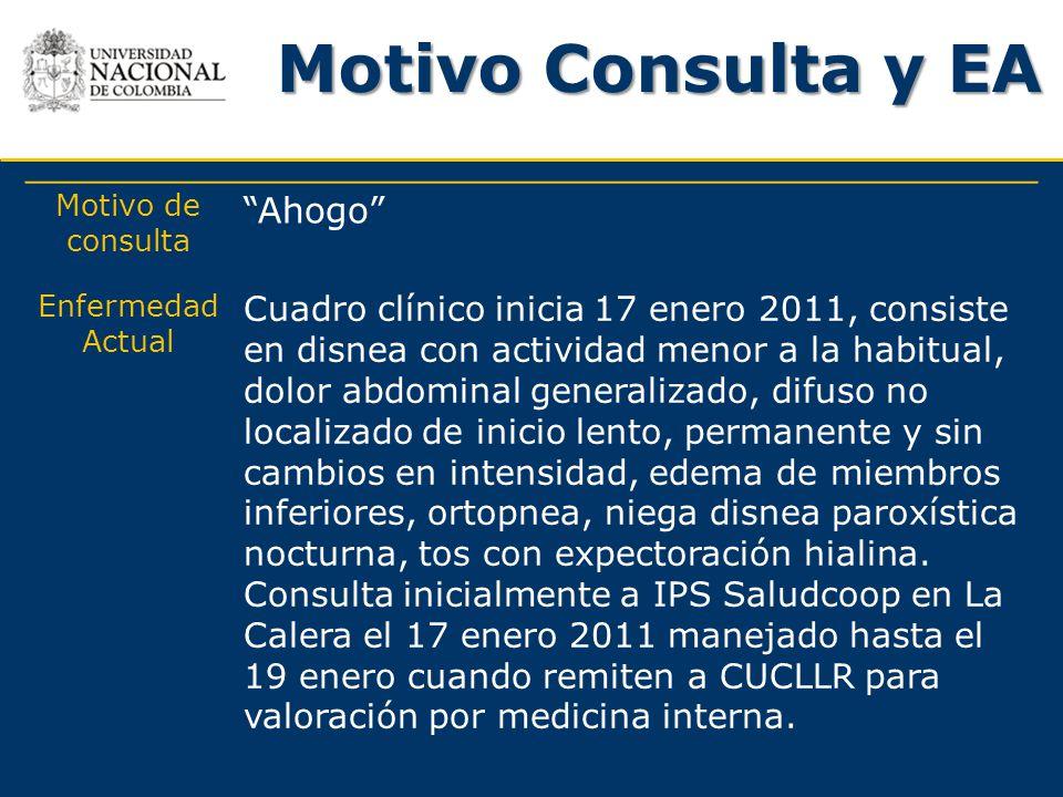 Motivo Consulta y EA Motivo de consulta Ahogo Enfermedad Actual Cuadro clínico inicia 17 enero 2011, consiste en disnea con actividad menor a la habit