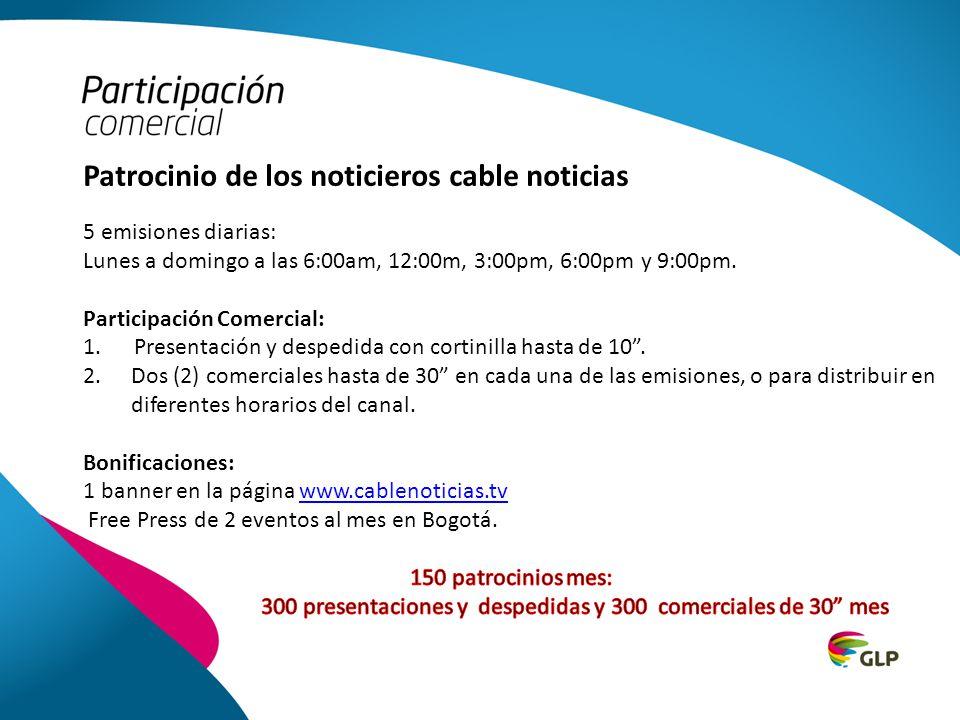 FUENTE IBOPE MMW TARGET: PERSONAS TV PAGA 2013 Noticiero 6 am Noticiero 12 m Noticiero 3 pm Noticiero 6 pm Noticiero 9 pm Noticiero 10.30 pm Audiencia Canales de Noticias con Tv Paga en Colombia Lunes a Viernes - Enero a Julio 2013