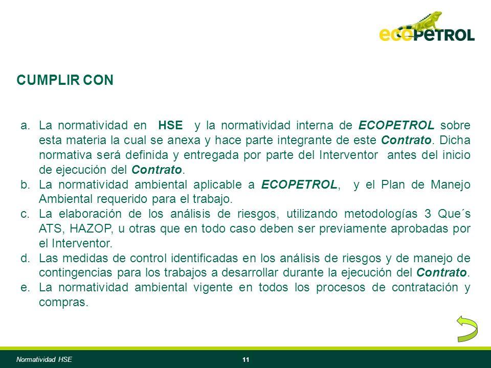 11 a.La normatividad en HSE y la normatividad interna de ECOPETROL sobre esta materia la cual se anexa y hace parte integrante de este Contrato.