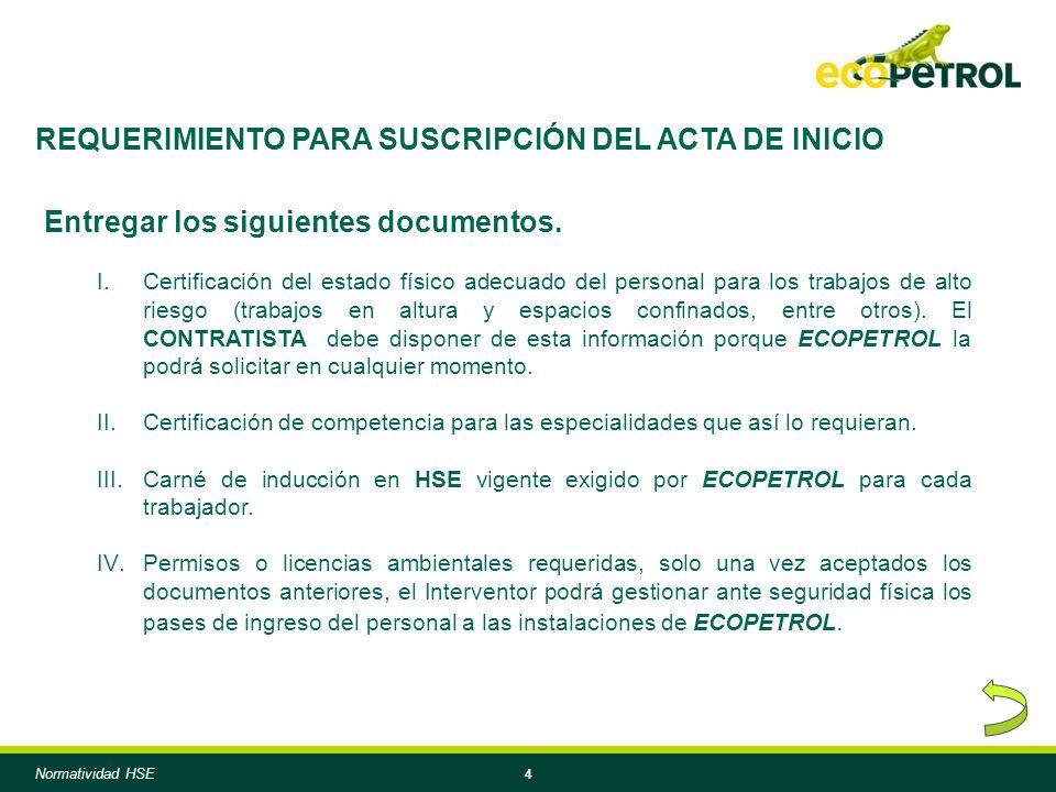 4 REQUERIMIENTO PARA SUSCRIPCIÓN DEL ACTA DE INICIO Entregar los siguientes documentos.