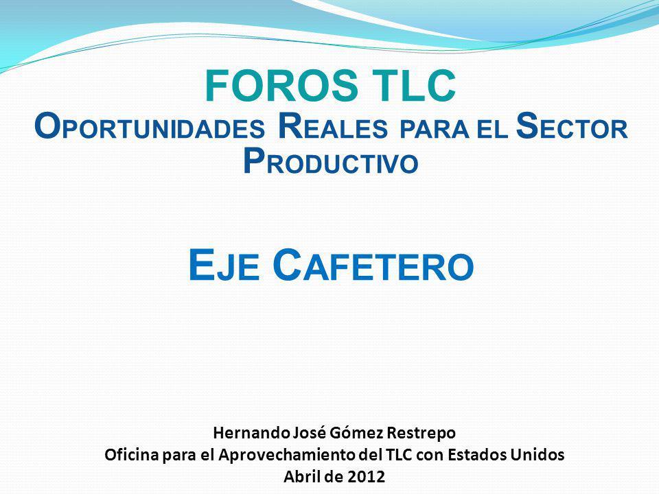 CONTENIDO 1.Aprovechamiento del TLC en el Eje Cafetero 2.Agenda de trabajo con el Eje Cafetero (ya iniciada)