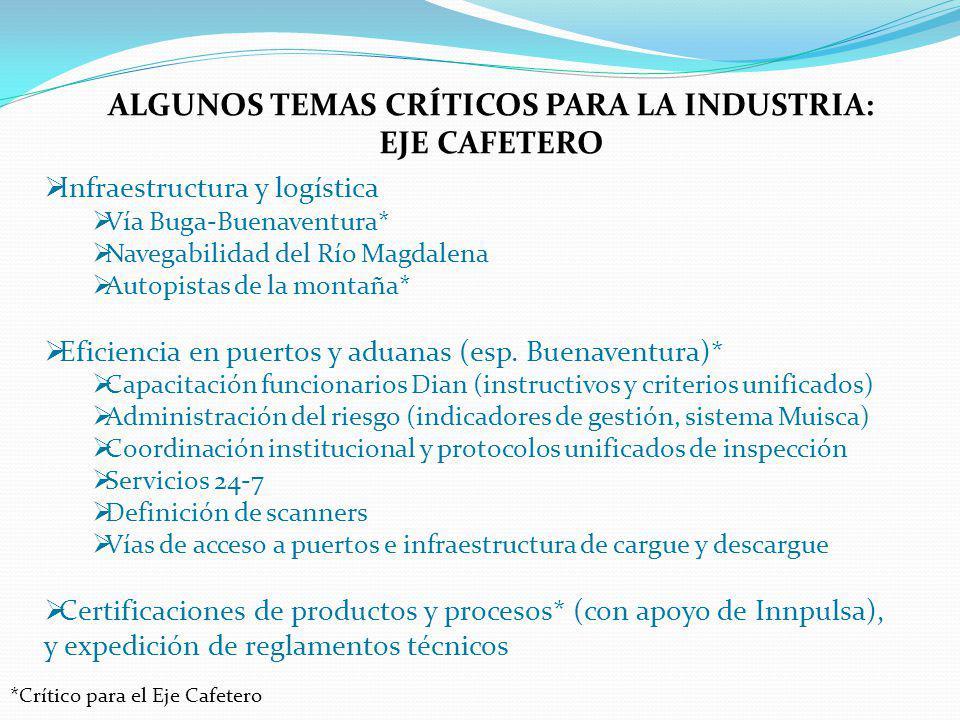 ALGUNOS TEMAS CRÍTICOS PARA LA INDUSTRIA: EJE CAFETERO Infraestructura y logística Vía Buga-Buenaventura* Navegabilidad del Río Magdalena Autopistas d