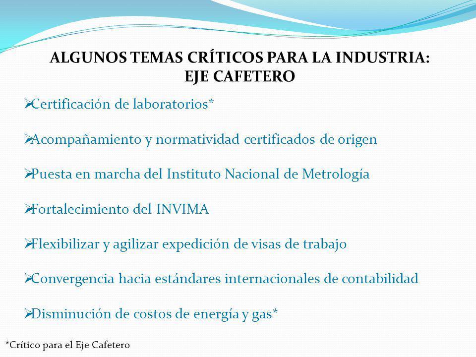 ALGUNOS TEMAS CRÍTICOS PARA LA INDUSTRIA: EJE CAFETERO Certificación de laboratorios* Acompañamiento y normatividad certificados de origen Puesta en m