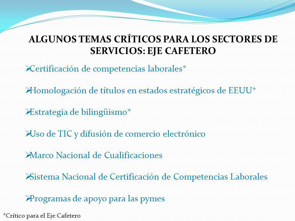 ALGUNOS TEMAS CRÍTICOS PARA LOS SECTORES DE SERVICIOS: EJE CAFETERO Certificación de competencias laborales* Homologación de títulos en estados estrat