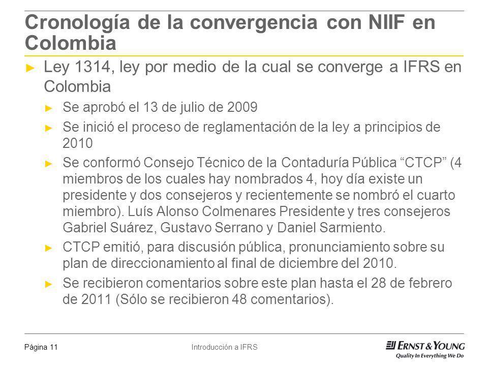 Introducción a IFRSPágina 11 Cronología de la convergencia con NIIF en Colombia Ley 1314, ley por medio de la cual se converge a IFRS en Colombia Se a
