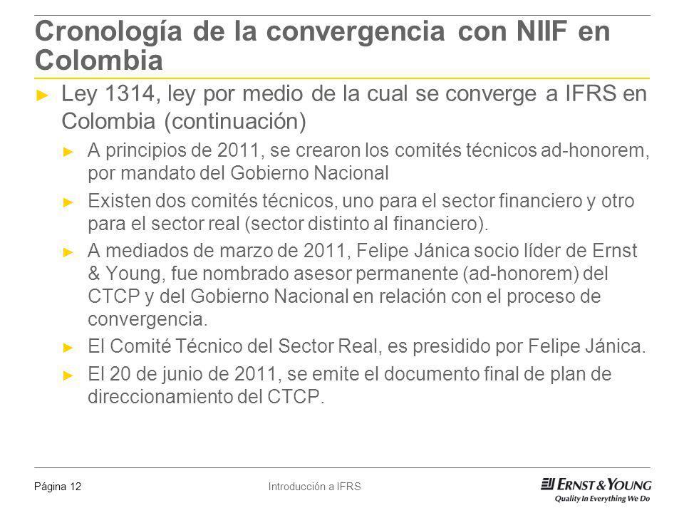 Introducción a IFRSPágina 12 Cronología de la convergencia con NIIF en Colombia Ley 1314, ley por medio de la cual se converge a IFRS en Colombia (con