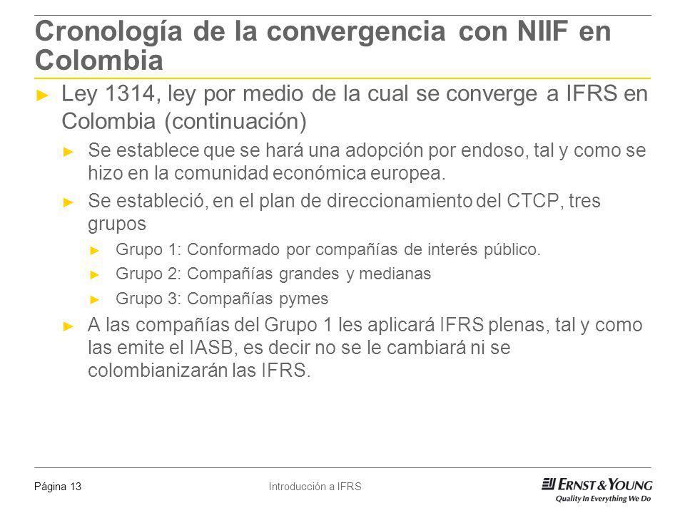 Introducción a IFRSPágina 13 Cronología de la convergencia con NIIF en Colombia Ley 1314, ley por medio de la cual se converge a IFRS en Colombia (con