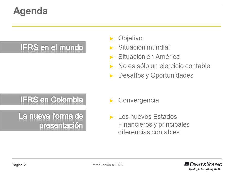 Introducción a IFRSPágina 13 Cronología de la convergencia con NIIF en Colombia Ley 1314, ley por medio de la cual se converge a IFRS en Colombia (continuación) Se establece que se hará una adopción por endoso, tal y como se hizo en la comunidad económica europea.