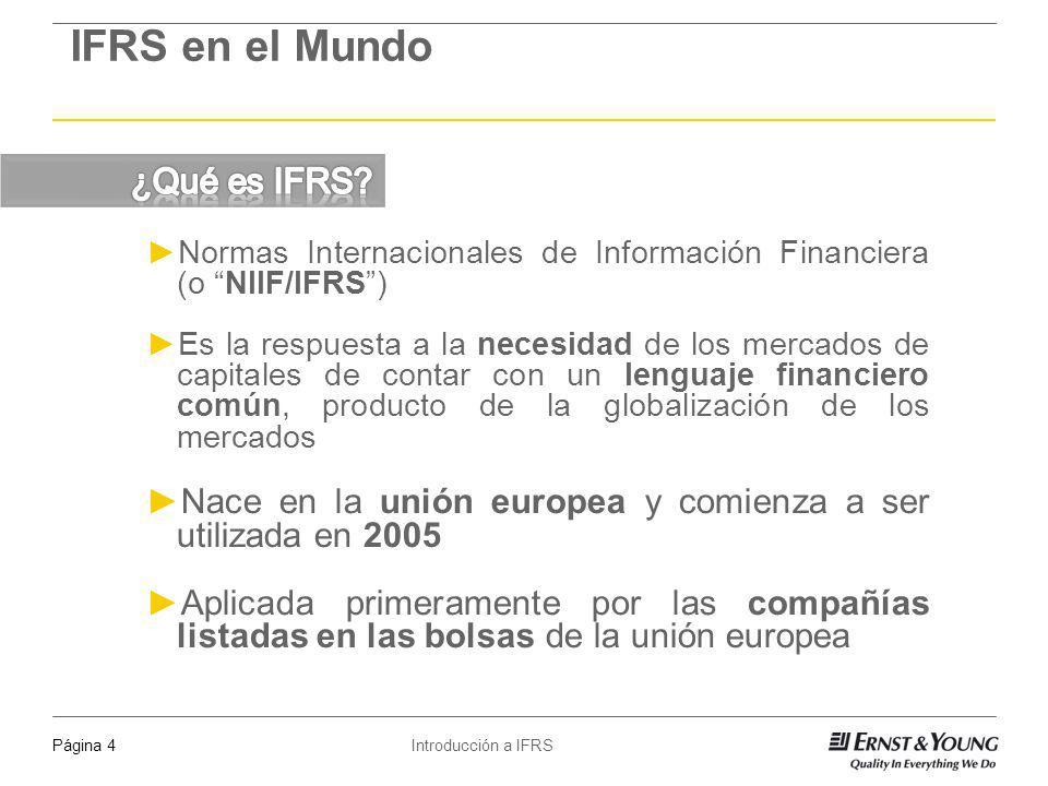 Introducción a IFRSPágina 5 IFRS en el Mundo Mejorar la transparencia y comparabilidad de la información financiera a nivel global, mediante un lenguaje común utilizable por los distintos mercados de capitales Más que una tendencia, es una realidad IFRS ya está siendo utilizada en mercados que totalizan cerca de 4 mil millones de personas En un par de años más alcanzará casi la totalidad de los mercados