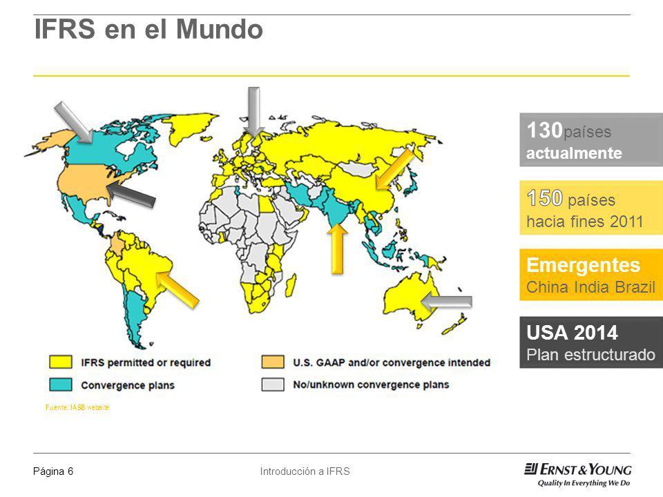 Introducción a IFRSPágina 7 Fuente: IASB website IFRS en el Mundo 2009 Chile 2011 Canadá - Venezuela - Bolivia 2012 y más Argentina – México - Estados Unidos - Colombia No requerido aún Uruguay – Paraguay