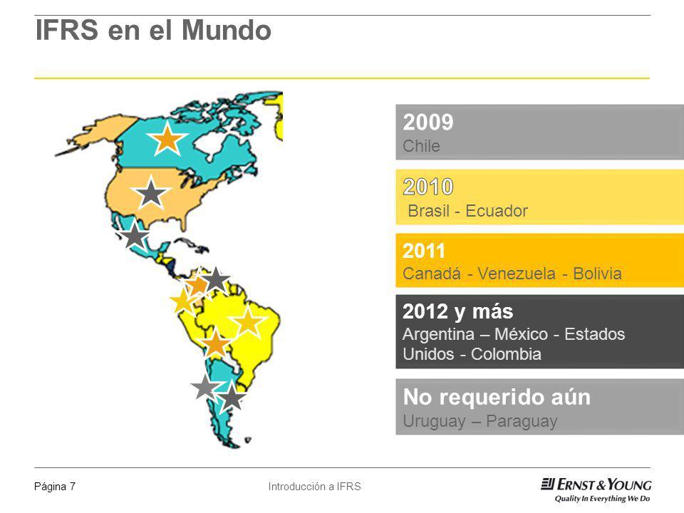 Introducción a IFRSPágina 7 Fuente: IASB website IFRS en el Mundo 2009 Chile 2011 Canadá - Venezuela - Bolivia 2012 y más Argentina – México - Estados