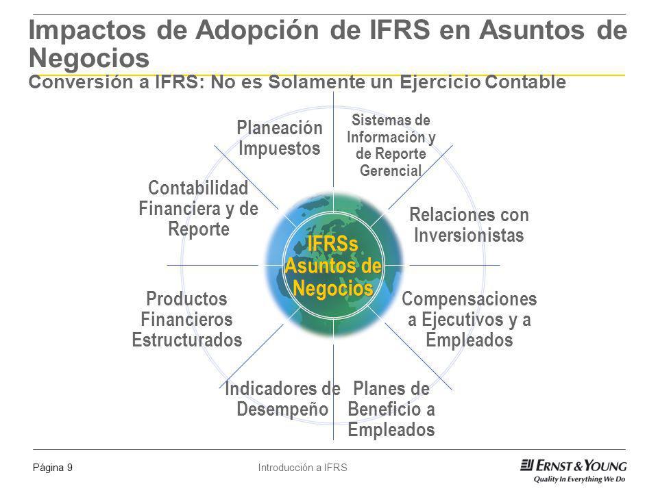 Introducción a IFRSPágina 9 IFRSs Asuntos de Negocios Relaciones con Inversionistas Compensaciones a Ejecutivos y a Empleados Planeación Impuestos Ind