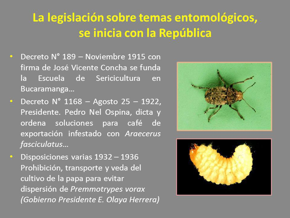 La legislación sobre temas entomológicos, se inicia con la República Decreto N° 189 – Noviembre 1915 con firma de José Vicente Concha se funda la Escu