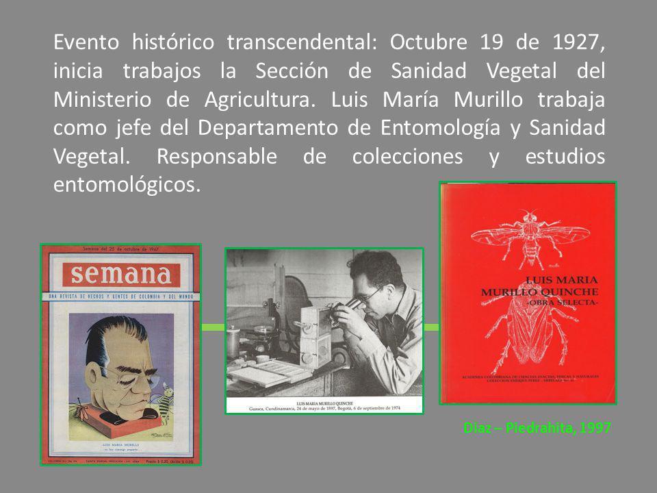 Evento histórico transcendental: Octubre 19 de 1927, inicia trabajos la Sección de Sanidad Vegetal del Ministerio de Agricultura. Luis María Murillo t