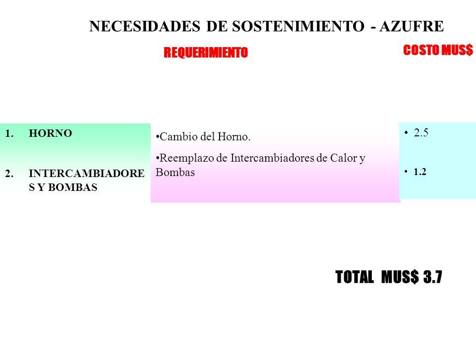 NECESIDADES DE SOSTENIMIENTO - AZUFRE 1.HORNO 2.INTERCAMBIADORE S Y BOMBAS Cambio del Horno.