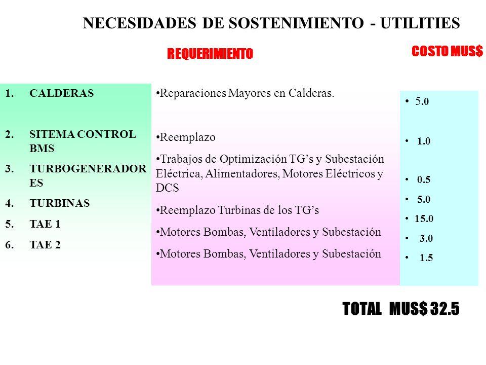 NECESIDADES DE SOSTENIMIENTO - UTILITIES 1.CALDERAS 2.SITEMA CONTROL BMS 3.TURBOGENERADOR ES 4.TURBINAS 5.TAE 1 6.TAE 2 Reparaciones Mayores en Calderas.