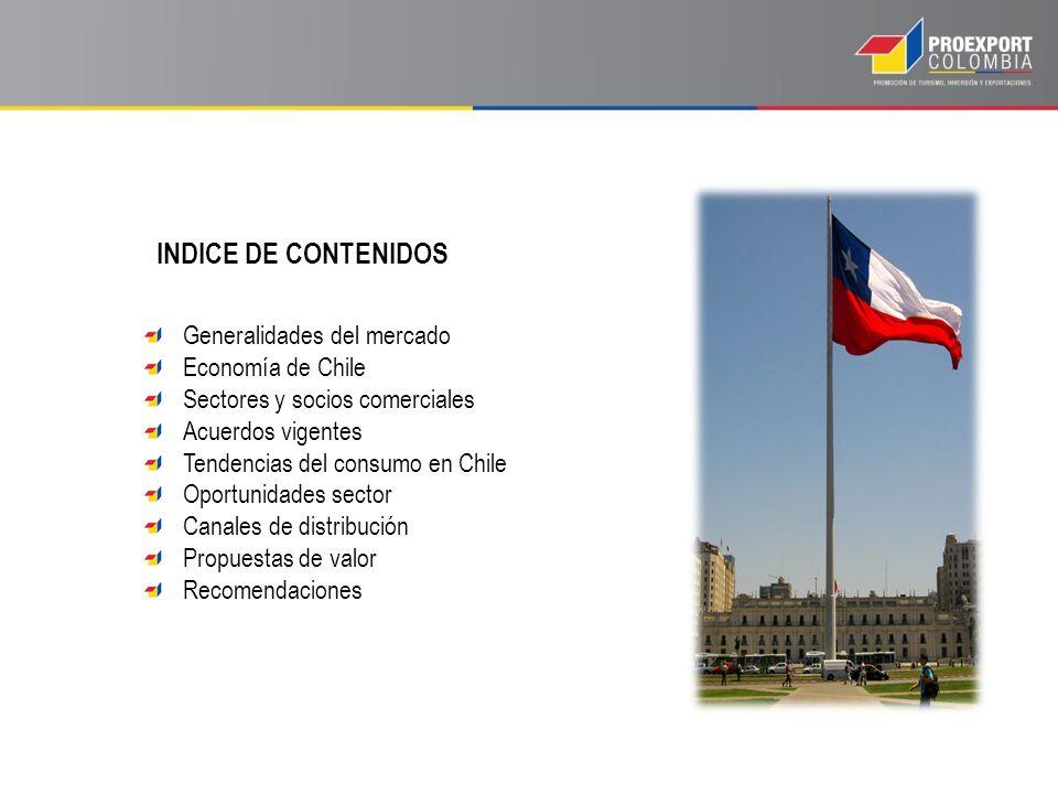 INDICE DE CONTENIDOS Generalidades del mercado Economía de Chile Sectores y socios comerciales Acuerdos vigentes Tendencias del consumo en Chile Oportunidades sector Canales de distribución Propuestas de valor Recomendaciones
