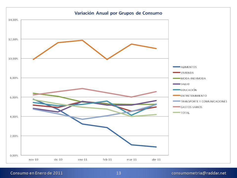 13consumometria@raddar.net Consumo en Enero de 2011