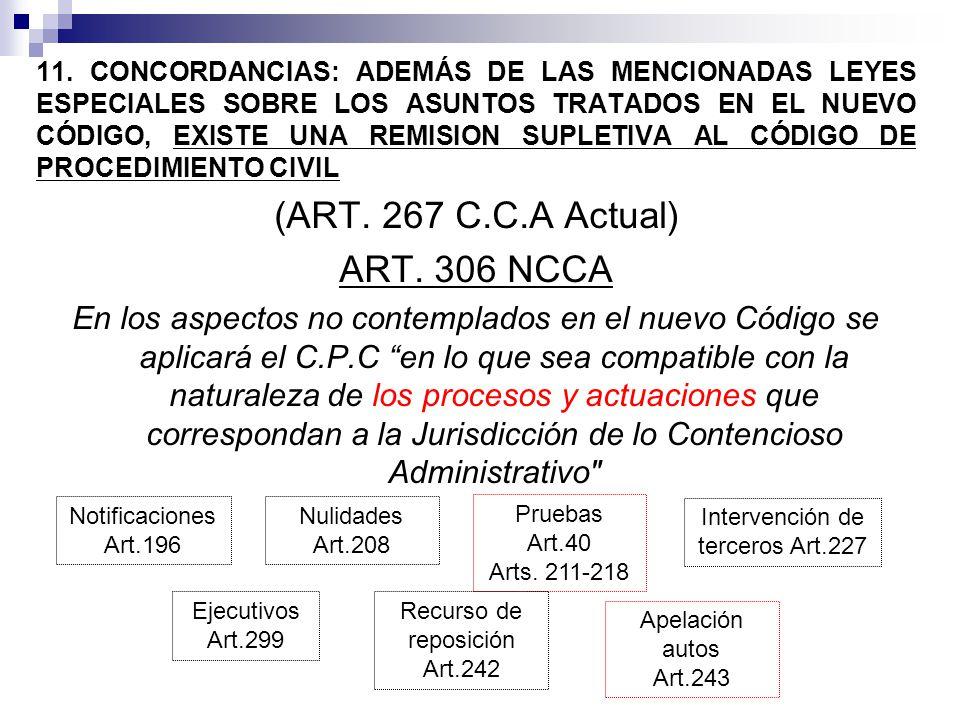 11. CONCORDANCIAS: ADEMÁS DE LAS MENCIONADAS LEYES ESPECIALES SOBRE LOS ASUNTOS TRATADOS EN EL NUEVO CÓDIGO, EXISTE UNA REMISION SUPLETIVA AL CÓDIGO D