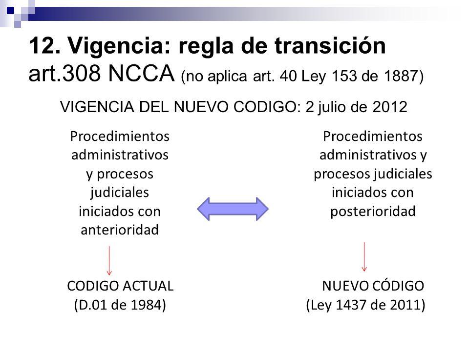 12.Vigencia: regla de transición art.308 NCCA (no aplica art.