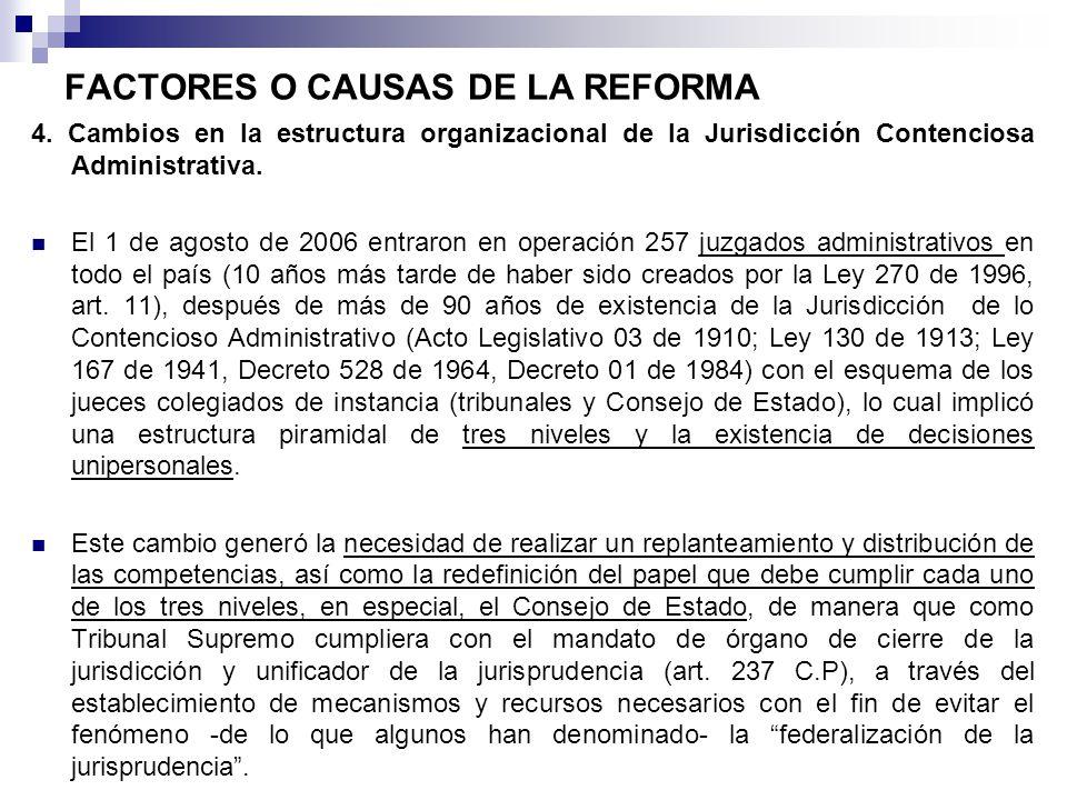 FACTORES O CAUSAS DE LA REFORMA 4. Cambios en la estructura organizacional de la Jurisdicción Contenciosa Administrativa. El 1 de agosto de 2006 entra