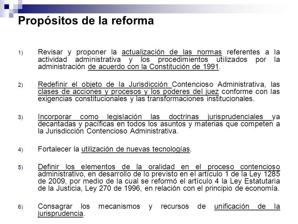 Propósitos de la reforma 1) Revisar y proponer la actualización de las normas referentes a la actividad administrativa y los procedimientos utilizados