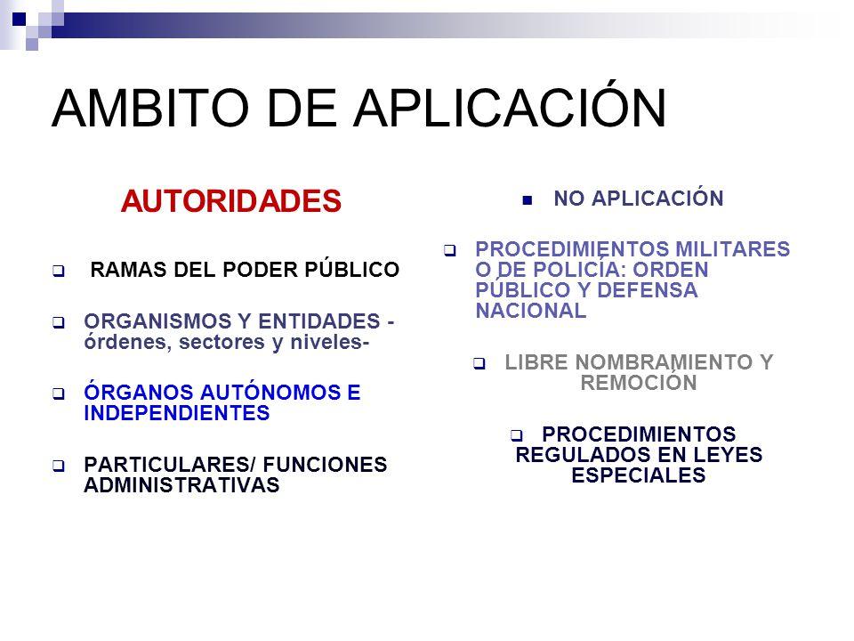 AUTORIDADES RAMAS DEL PODER PÚBLICO ORGANISMOS Y ENTIDADES - órdenes, sectores y niveles- ÓRGANOS AUTÓNOMOS E INDEPENDIENTES PARTICULARES/ FUNCIONES ADMINISTRATIVAS NO APLICACIÓN PROCEDIMIENTOS MILITARES O DE POLICÍA: ORDEN PÚBLICO Y DEFENSA NACIONAL LIBRE NOMBRAMIENTO Y REMOCIÓN PROCEDIMIENTOS REGULADOS EN LEYES ESPECIALES AMBITO DE APLICACIÓN