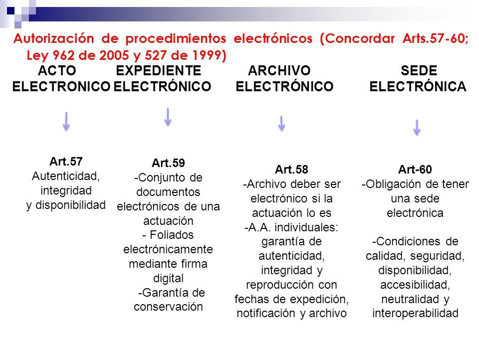 Autorización de procedimientos electrónicos (Concordar Arts.57-60; Ley 962 de 2005 y 527 de 1999) ACTO EXPEDIENTE ARCHIVO SEDE ELECTRONICO ELECTRÓNICO ELECTRÓNICO ELECTRÓNICA Art.57 Autenticidad, integridad y disponibilidad Art.59 -Conjunto de documentos electrónicos de una actuación - Foliados electrónicamente mediante firma digital -Garantía de conservación Art.58 -Archivo deber ser electrónico si la actuación lo es -A.A.
