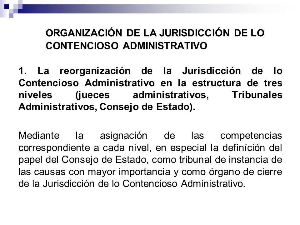 ORGANIZACIÓN DE LA JURISDICCIÓN DE LO CONTENCIOSO ADMINISTRATIVO 1. La reorganización de la Jurisdicción de lo Contencioso Administrativo en la estruc