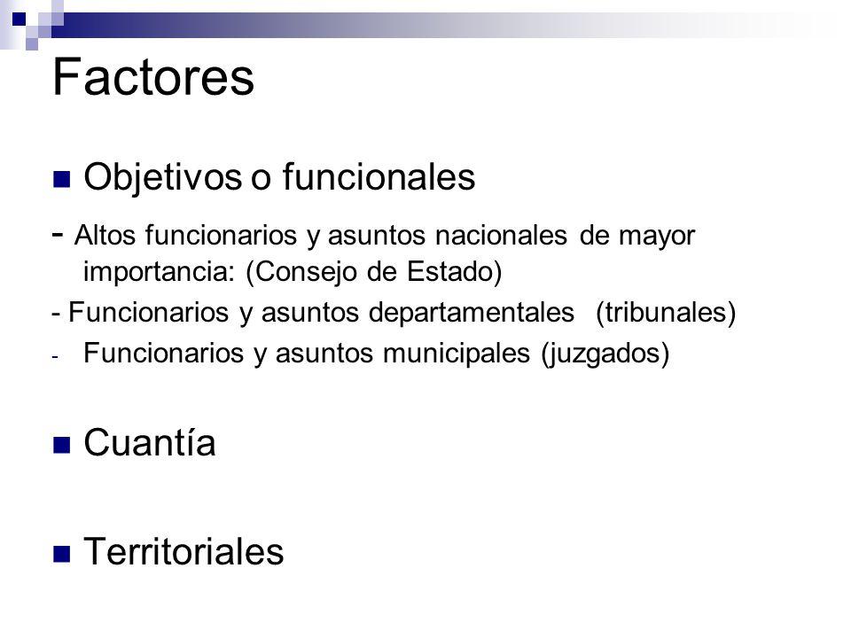 Factores Objetivos o funcionales - Altos funcionarios y asuntos nacionales de mayor importancia: (Consejo de Estado) - Funcionarios y asuntos departamentales (tribunales) - Funcionarios y asuntos municipales (juzgados) Cuantía Territoriales