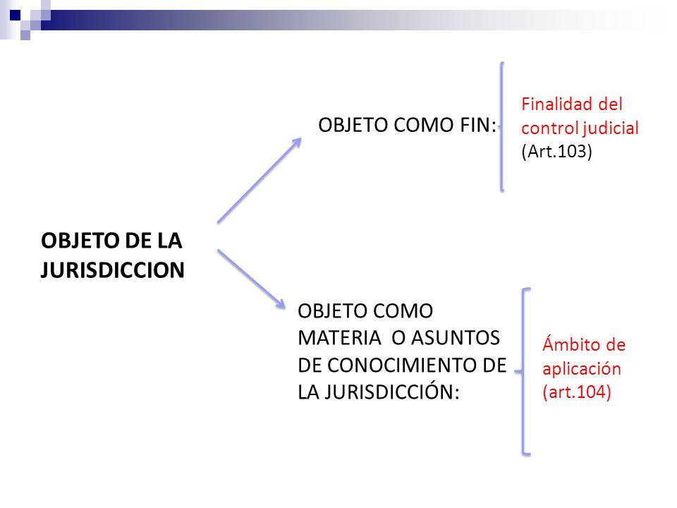 OBJETO DE LA JURISDICCION OBJETO COMO FIN: OBJETO COMO MATERIA O ASUNTOS DE CONOCIMIENTO DE LA JURISDICCIÓN: Finalidad del control judicial (Art.103) Ámbito de aplicación (art.104)