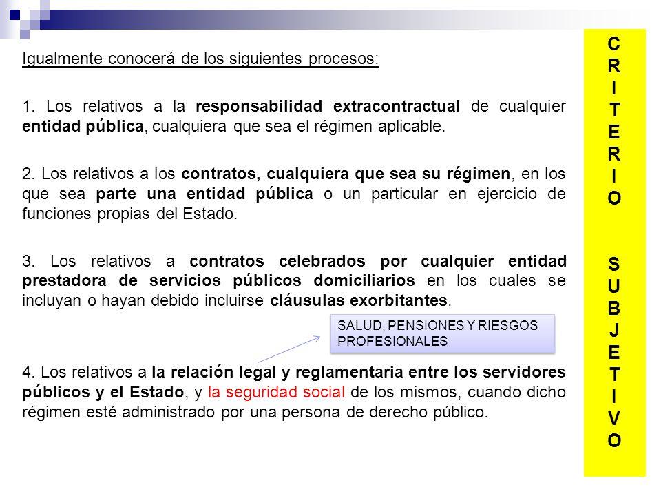 Igualmente conocerá de los siguientes procesos: 1. Los relativos a la responsabilidad extracontractual de cualquier entidad pública, cualquiera que se