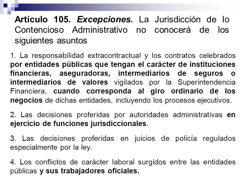 Artículo 105.Excepciones.
