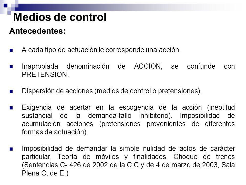 Antecedentes: A cada tipo de actuación le corresponde una acción. Inapropiada denominación de ACCION, se confunde con PRETENSION. Dispersión de accion