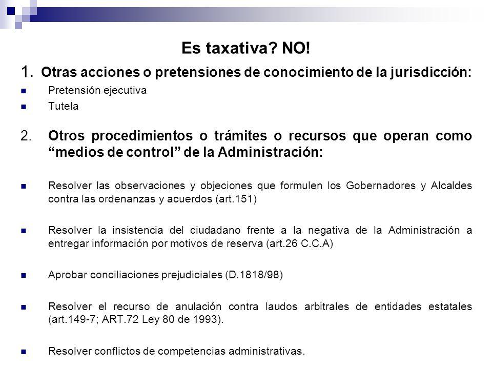 Es taxativa? NO! 1. Otras acciones o pretensiones de conocimiento de la jurisdicción: Pretensión ejecutiva Tutela 2. Otros procedimientos o trámites o