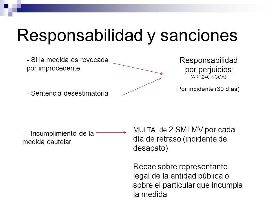 Responsabilidad y sanciones - Si la medida es revocada por improcedente - Sentencia desestimatoria - Incumplimiento de la medida cautelar Responsabili