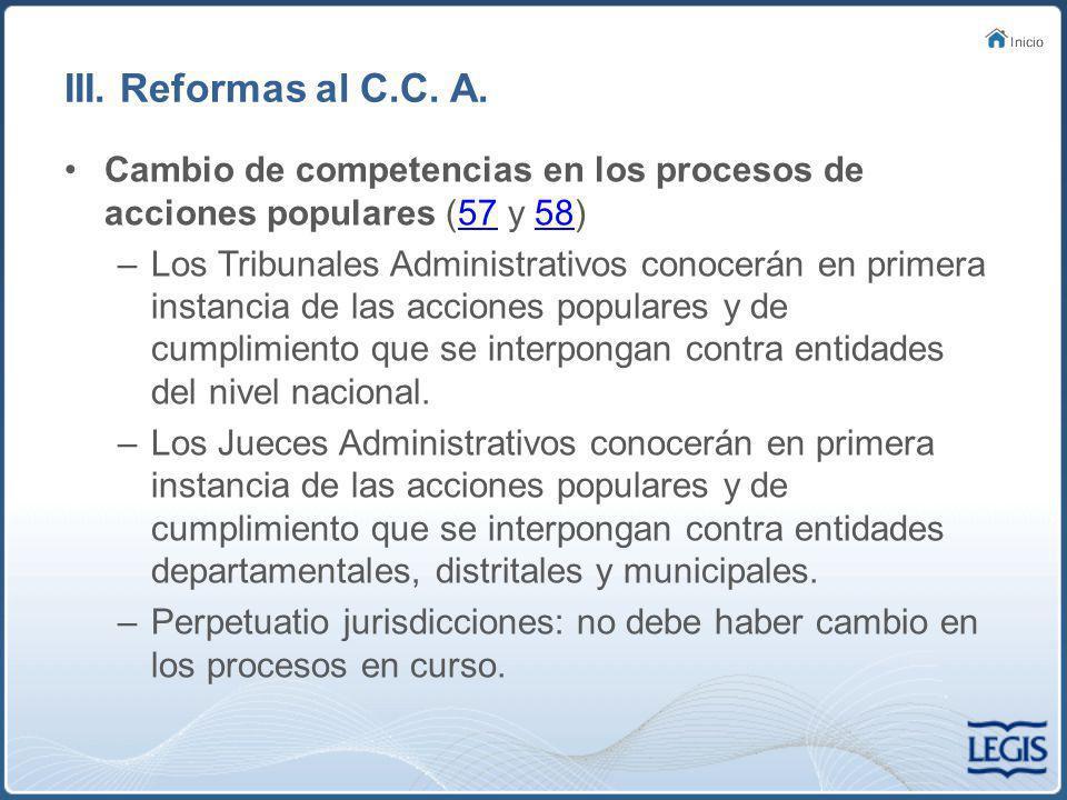 III.Reformas al C.C. A.