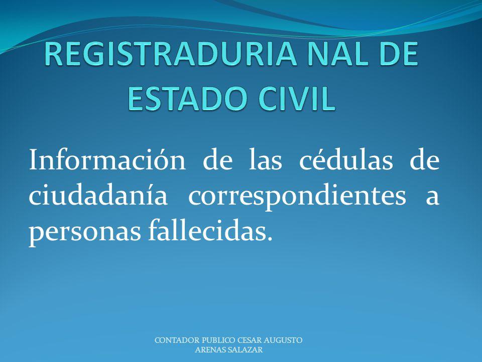 Información de las cédulas de ciudadanía correspondientes a personas fallecidas. CONTADOR PUBLICO CESAR AUGUSTO ARENAS SALAZAR