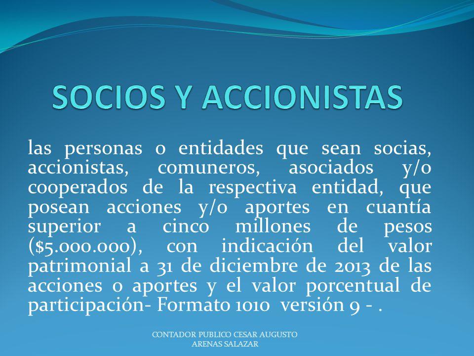 las personas o entidades que sean socias, accionistas, comuneros, asociados y/o cooperados de la respectiva entidad, que posean acciones y/o aportes e