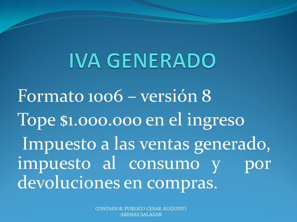 Formato 1006 – versión 8 Tope $1.000.000 en el ingreso Impuesto a las ventas generado, impuesto al consumo y por devoluciones en compras. CONTADOR PUB