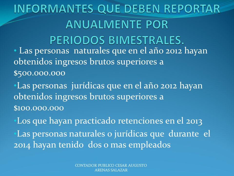 Las personas naturales que en el año 2012 hayan obtenidos ingresos brutos superiores a $500.000.000 Las personas jurídicas que en el año 2012 hayan ob