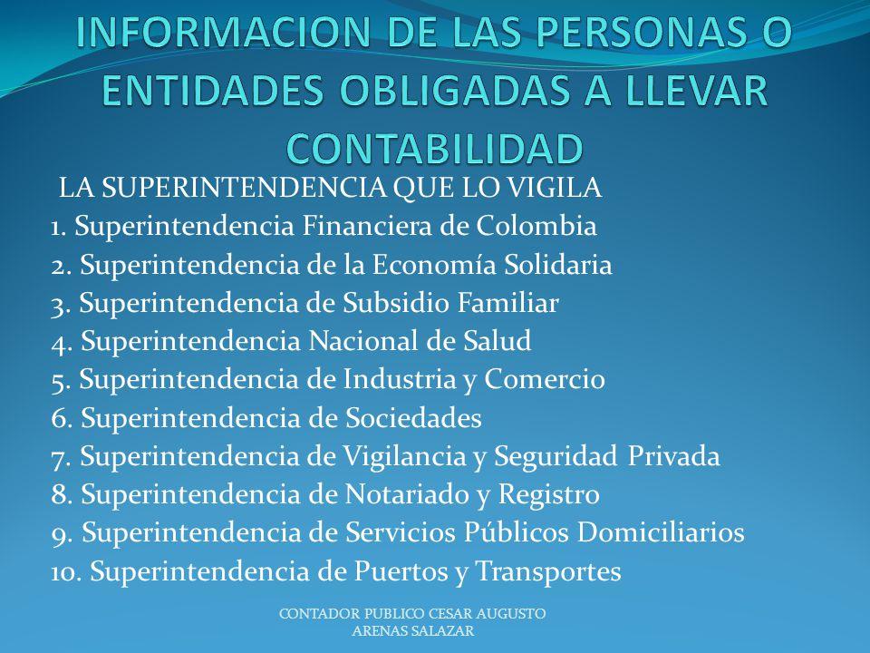 LA SUPERINTENDENCIA QUE LO VIGILA 1. Superintendencia Financiera de Colombia 2. Superintendencia de la Economía Solidaria 3. Superintendencia de Subsi